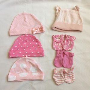 Newborn baby girl hat(4)and mitten set(3)